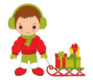 Vector Cute Little Boy with Sledge and Christmas Gift Boxes. Vector cute little boy with sledge and gift boxes. Vector Christmas boy wearing headphones. Little Stock Photos
