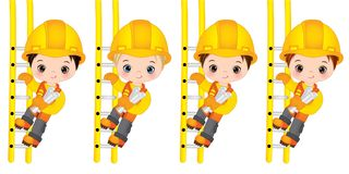 Vector Cute Little Boys Climbing up the Ladder. Vector Little Builders. Vector cute little boys climbing up the ladders and holding drawings. Vector little boys Royalty Free Illustration