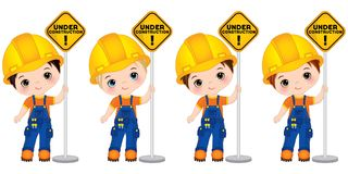 Vector Cute Little Boys Holding the Sign - Under Construction. Vector Little Builders. Vector cute little boys holding the sign - under construction. Vector Royalty Free Illustration
