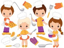 Vector Cute Little Chefs Cooking and Baking. Vector Little Kids Stock Photo