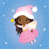 Vector Cute Little Christmas Fairy with Magic Wand Flying. Vector little African American girl. Vector African American fairy. Christmas fairy vector Stock Photography