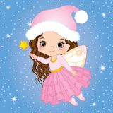 Vector Cute Little Christmas Fairy with Magic Wand Flying. Vector little girl. Christmas fairy vector illustration Royalty Free Stock Photo