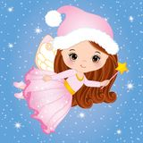 Vector Cute Little Christmas Fairy with Magic Wand Flying. Vector little girl. Christmas fairy vector illustration Royalty Free Stock Images