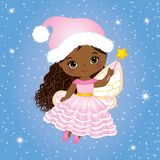 Vector Cute Little Christmas Fairy with Magic Wand Flying. Vector little African American girl. Vector African American fairy. Christmas fairy vector Stock Images