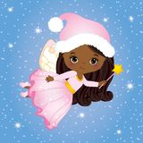 Vector Cute Little Christmas Fairy with Magic Wand Flying. Vector little African American girl. Vector African American fairy. Christmas fairy vector Royalty Free Stock Image