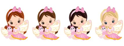 Vector Cute Little Fairies with Butterflies Stock Images