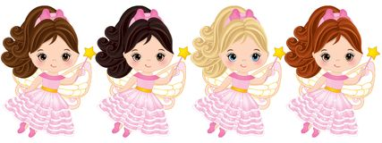 Vector Cute Little Fairies with Magic Wands Flying. Vector cute little fairies with various hair colors Vector fairies with magic wands flying. Vector little Stock Image