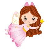Vector Cute Little Fairy with Magic Wand. Flying. Vector little girl. Vector little fairy. Fairy vector illustration Royalty Free Stock Images