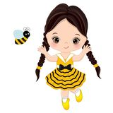 Vector Cute Little Girl with Bee. Little girl dressed in bee style. Vector little girl. Little girl vector illustration royalty free illustration