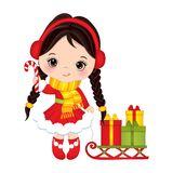 Vector Cute Little Girl with Candy Stick Sledge and Christmas Gift Boxes Stock Images