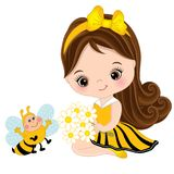 Vector Cute Little Girl with Bee and Flowers. Vector cute little girl with cartoon bee and flowers. Little girl dressed in bee style. Vector little girl. Little royalty free illustration