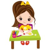 Vector Little Girl Draws. Vector Little Artist Stock Illustration
