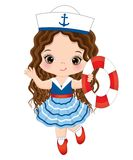 Vector Cute Little Girl Dressed in Nautical Style with Buoy Stock Photos