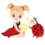 Vector Cute Little Girl with Ladybug and Flowers Stock Photos
