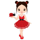 Vector Cute Little Girl with Ladybug Royalty Free Stock Images