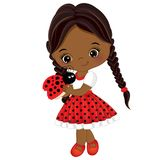 Vector Cute Little African American Girl with Ladybug Royalty Free Stock Images