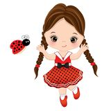 Vector Cute Little Girl with Ladybug. Vector little girl in polka dot dress running. Little girl with ladybug vector illustration royalty free illustration