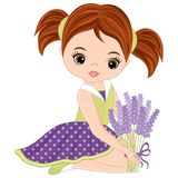 Vector Cute Little Girl with Lavender Bouquet Royalty Free Stock Photo