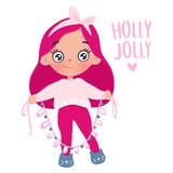 Vector cute little girl with New Year`s toy. Cute character. Vector cute little girl with New Year`s garland. Cute character. Cartoon holidays illustration royalty free illustration