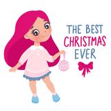 Vector cute little girl with New Year`s toy. Cute character. Cartoon illustration. Merry Christmas and Happy New Year 2019 design. The best christmas ever stock illustration