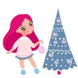 Vector cute little girl with New Year`s toy. Cute character. Cartoon illustration. Merry Christmas and Happy New Year 2019 design. Girl and christmas tree vector illustration