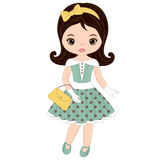 Vector Cute Little Girl in Retro Style Stock Photo