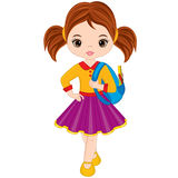 Vector Cute Little Girl with School Bag Stock Image