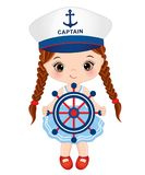 Vector Cute Little Girl Dressed in Nautical Style with Sheep Wheel Royalty Free Stock Images