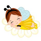 Vector Cute Little Girl Sleeping on Flower. Little girl dressed in bee style. Vector little girl. Little girl vector illustration stock illustration