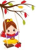 Vector Cute Little Girl Swings Royalty Free Stock Photos
