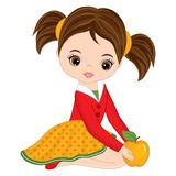 Vector Cute Little Girl with Yellow Apple Stock Photos