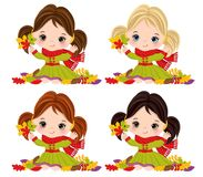 Vector Cute Little Girls with Autumn Leaves vector illustration