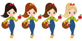 Vector Cute Little Girls with Baskets of Apples Royalty Free Stock Photography