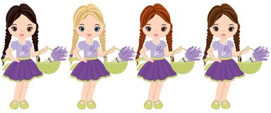 Vector Cute Little Girls with Baskets of Lavender Stock Photography