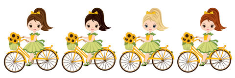 Vector Cute Little Girls with Bicycles Stock Image