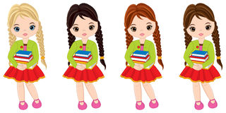 Vector Cute Little Girls with Books. Vector little girls with various hair colors. Little girls vector illustration Royalty Free Stock Photos