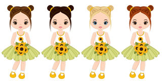 Vector Cute Little Girls with Bouquets of Sunflowers Stock Photography