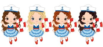 Vector Cute Little Girls Dressed in Nautical Style with Buoys. Vector cute little girls with buoys. Vector little girls with various hair colors dressed in Royalty Free Stock Photos