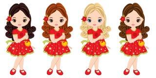 Vector Cute Little Girls with Christmas Balls. Vector Christmas girls with various hair colors. Vector little girl. Little girls vector illustration Stock Photos