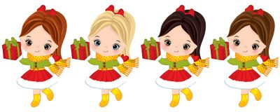 Vector Cute Little Girls with Christmas Gift Boxes. Vector little girls with various hair colors. Vector Christmas girl. Little girls with gift boxes vector Stock Photography