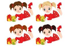 Vector Cute Little Girls with Christmas Gifts. Vector Christmas girl with various hair colors. Vector little girl. Little girls vector illustration Royalty Free Stock Image