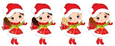 Vector Cute Little Girls with Christmas Red Berries Royalty Free Stock Photo