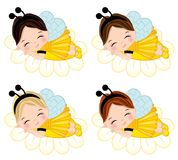 Vector Cute Little Girls Dressed in Bee Style Sleeping. Vector cute little girls with various hair colors. Little girls dressed in bee style sleeping on flowers stock illustration