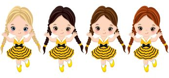 Vector Cute Little Girls Dressed in Bee Style. Vector cute little girls with various hair colors. Little girls dressed in bee style. Vector little girl. Little vector illustration