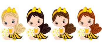 Vector Cute Little Girls Dressed in Bee Style. Vector cute little girls with various hair colors. Little girls dressed in bee style. Vector little girl. Little royalty free illustration