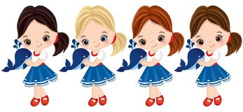 Vector Cute Little Girls Dressed in Nautical Style with Baby Whales Stock Photography