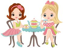 Vector Cute Little Girls Having Tea. Party. Vector tea party. Little girls vector illustration Royalty Free Stock Photo