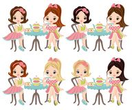 Vector Cute Little Girls Having Tea. Vector little girls with various hair colors. Vector tea party. Little girls vector illustration Stock Images