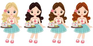 Vector Cute Little Girls Holding Trays with Tea Cups and Cupcakes Stock Image