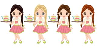 Vector Cute Little Girls Holding Trays with Tea Pots. Vector cute little girls holding trays with with tea pots. Vector little girls with various hair colors Stock Photography